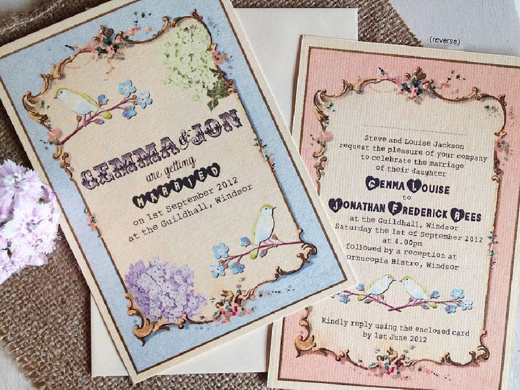 Vintage Wedding Invites Diy