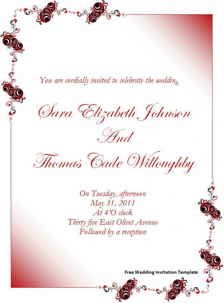 Wedding Hindu Invitations Free Templates
