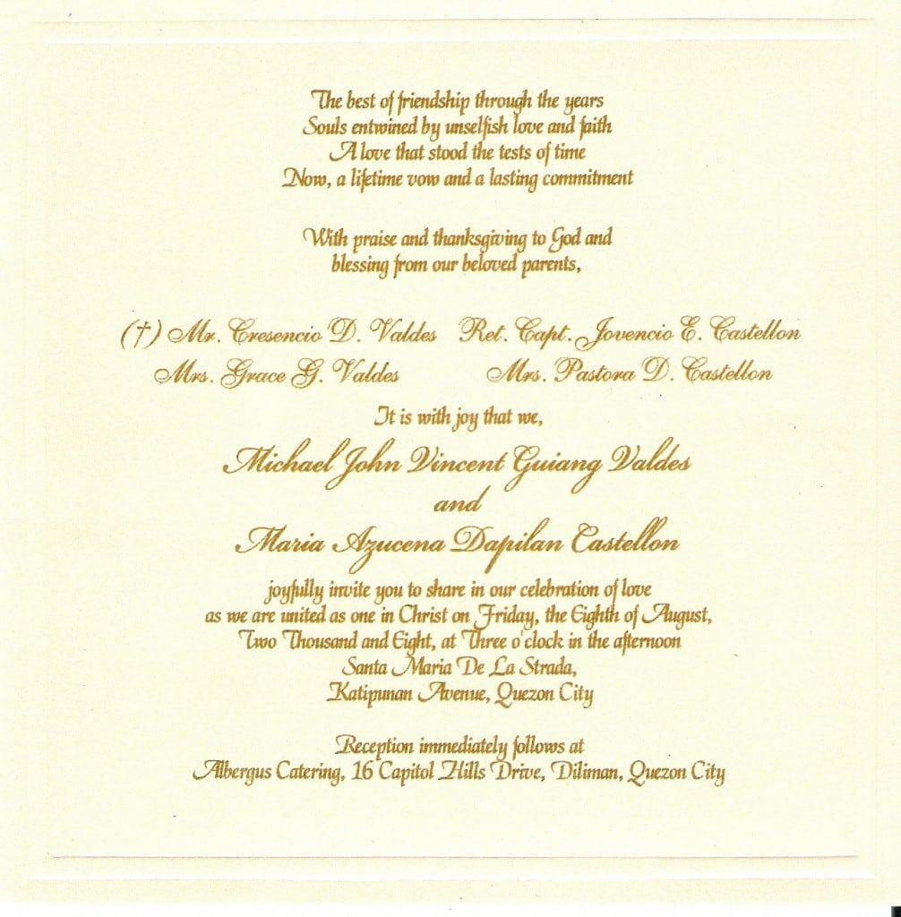 Wedding Invitations Format Wording