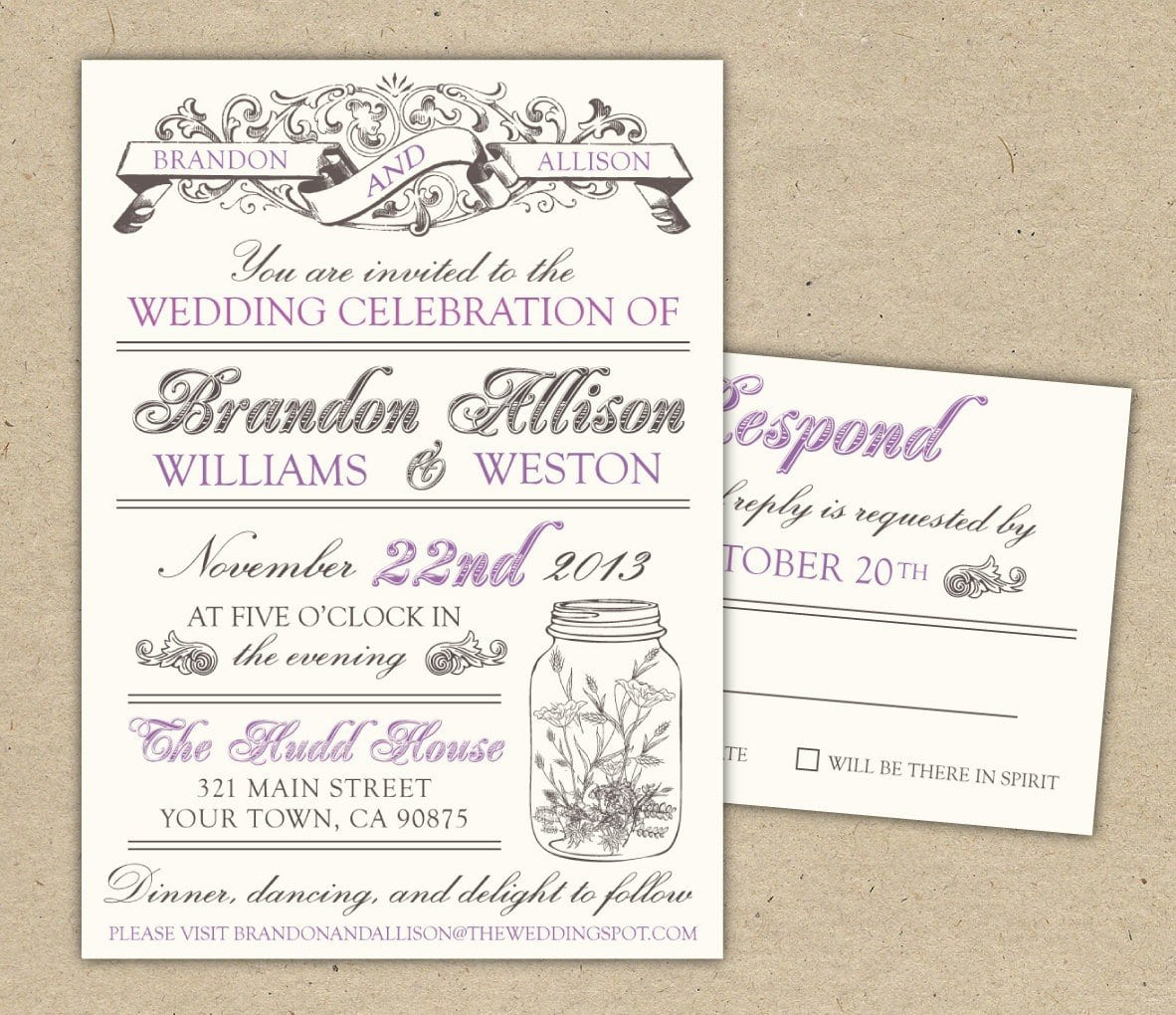 Western Antique Wedding Invitation Templates Free 5