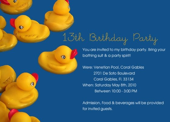 13th Birthday Invitation Templates