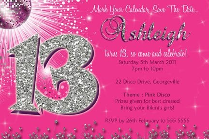13th Birthday Invites Templates