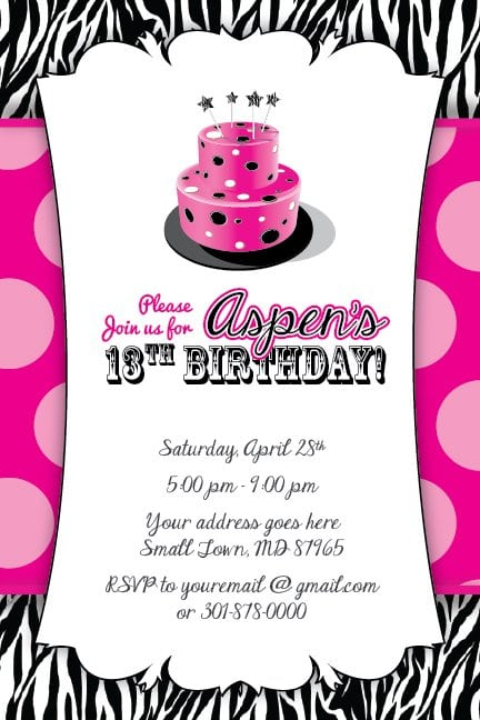13th Party Invitations Free