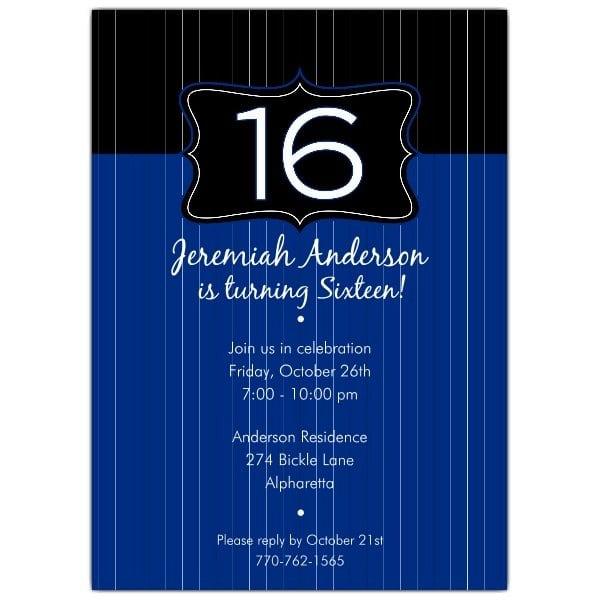 16th Birthday Invitations Boy