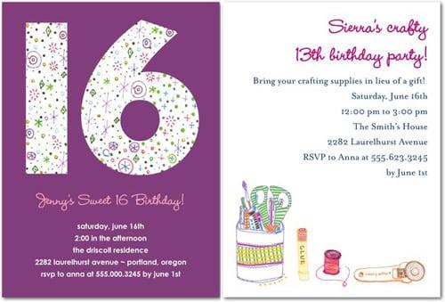 16th Birthday Invites Ideas