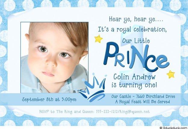 1 Prince Birthday Invitations