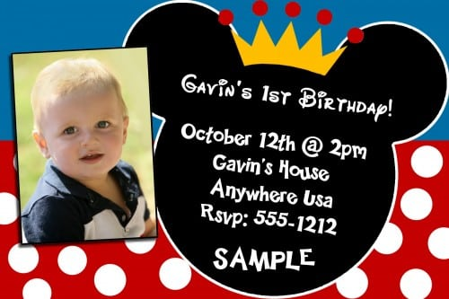 1st Birthday Invitation Mickey Mouse Theme