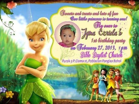 1st Birthday Invitations Tinkerbell