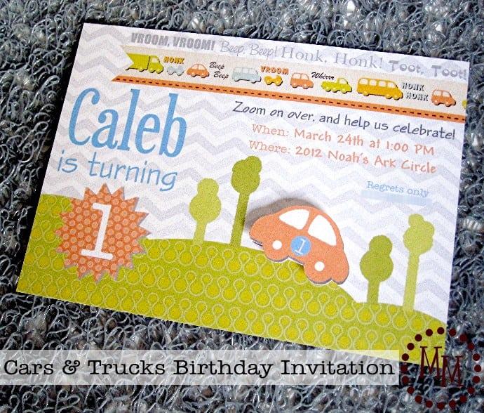 1st Birthday Party Invitation Templates Cars Trucks