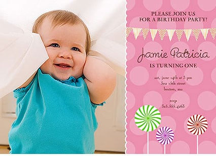 1st Birthday Party Invitations Girl Template