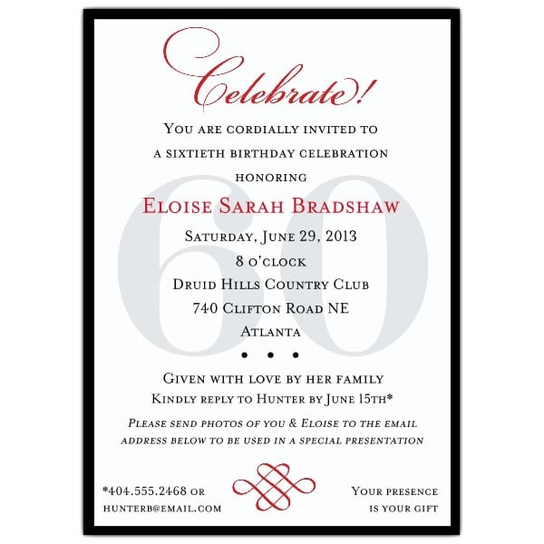 39;s 60th Birthday Invitations