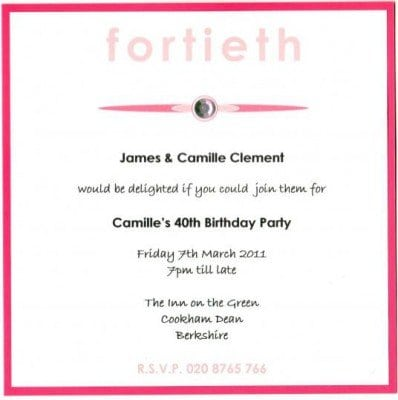 40th Birthday Invitation Templates Uk