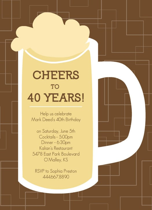 40th Birthday Invitations For Men Free
