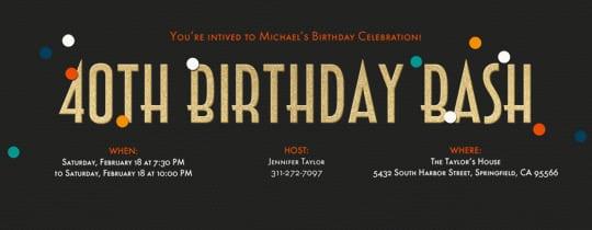 40th Birthday Invitations Free Online