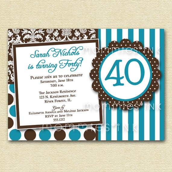 40th Birthday Invitations Print Free