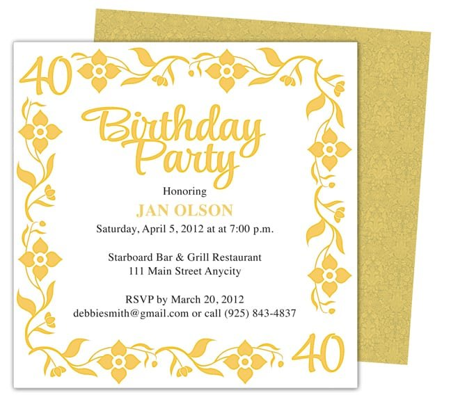 40th Birthday Invitations Templates Word