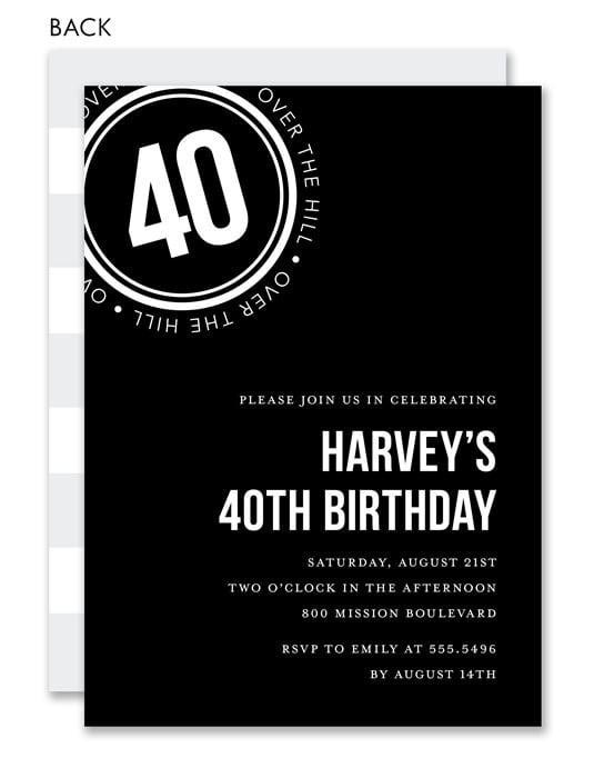 40th Invitation With Pictures