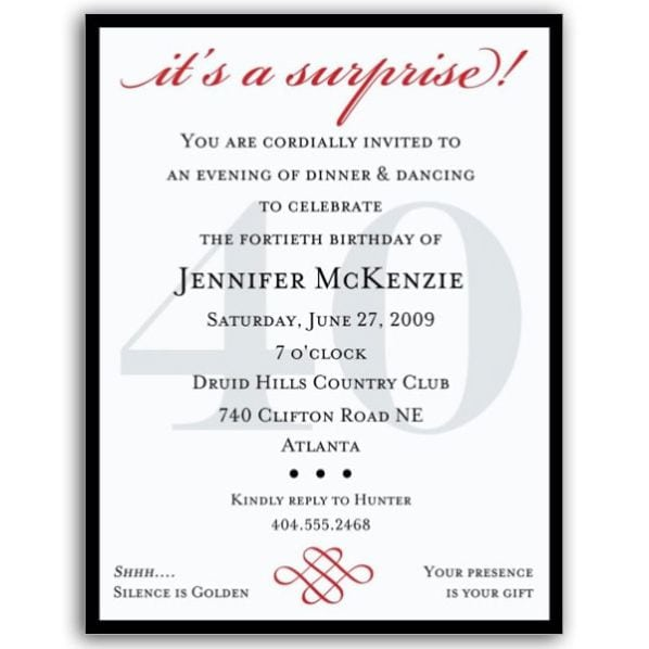 40th Surprise Birthday Invitations Wording
