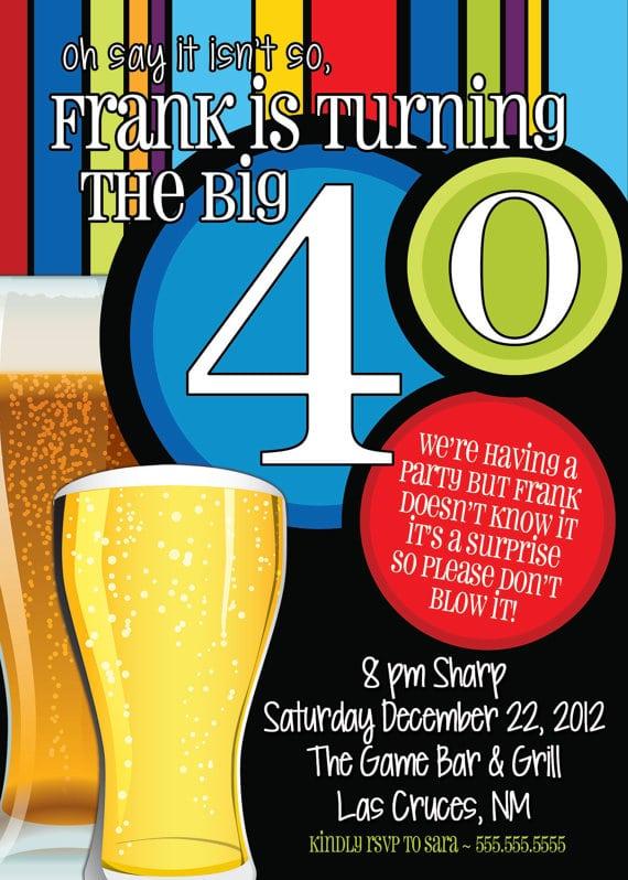 40th Surprise Party Invite For Men