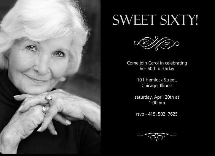 60 Birthday Invitations Wording