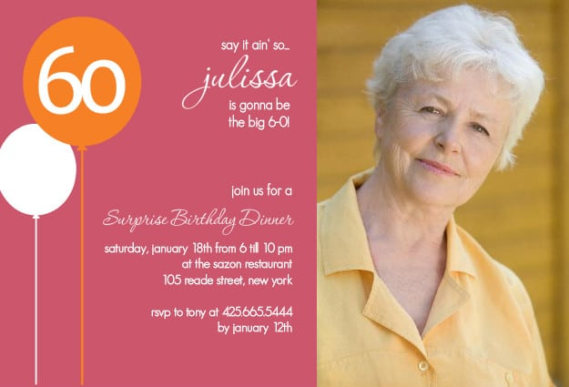 60th Birthday Invitation Template ZXBTWm0Z