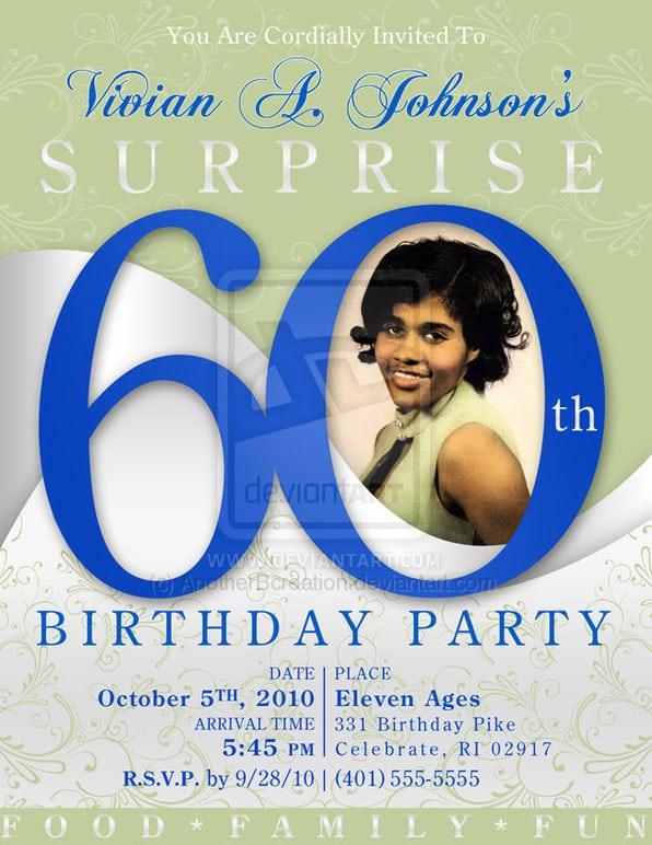 60th Birthday Invites Templates Free