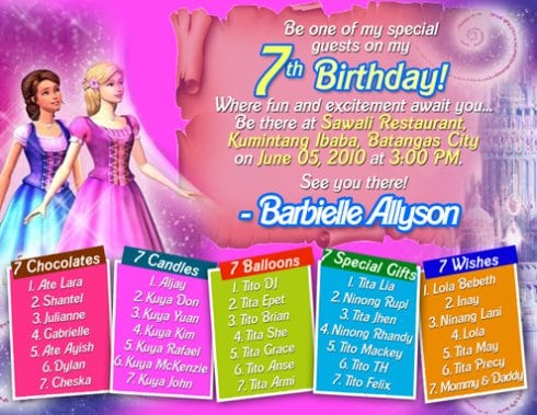 7th Bday Invitation