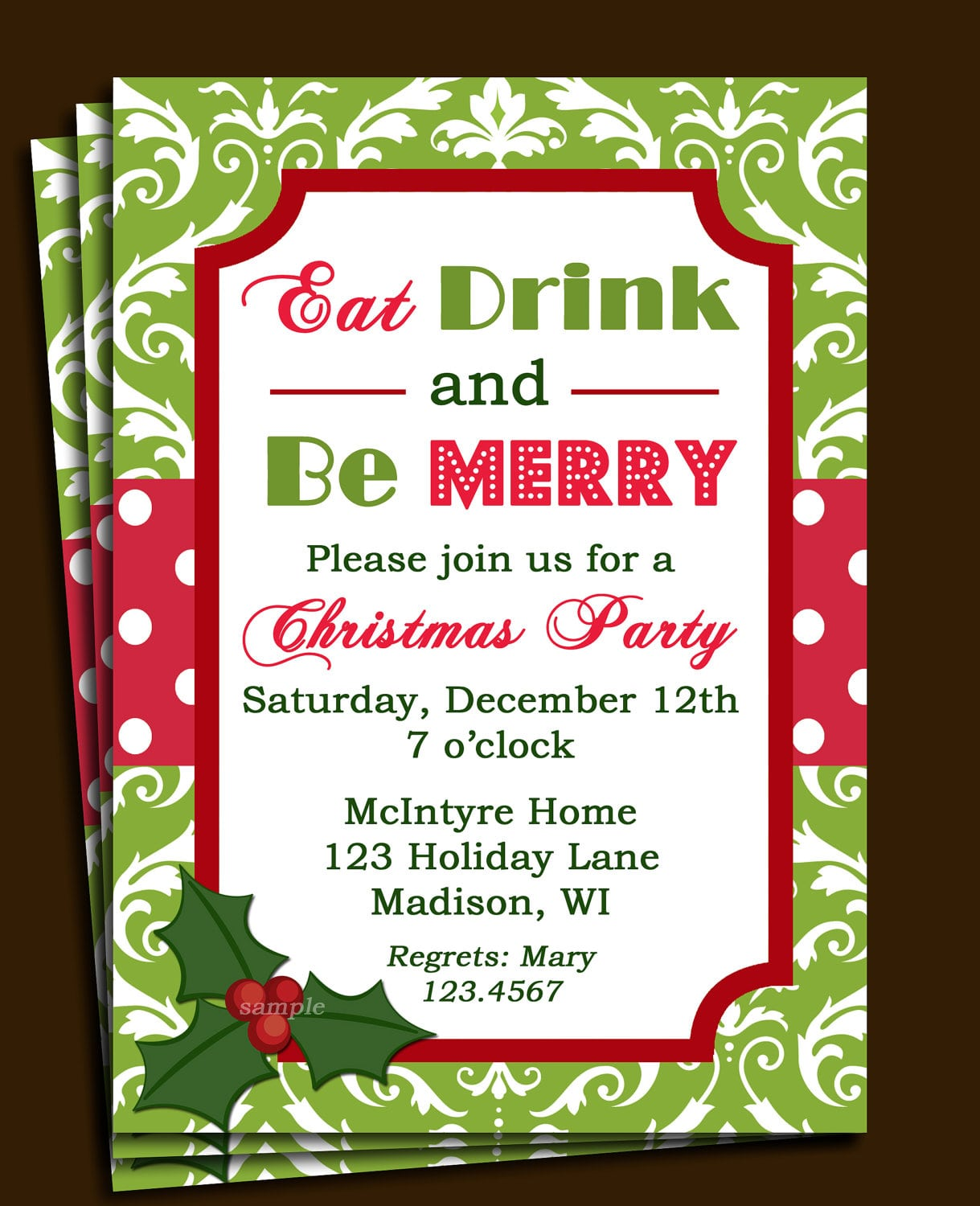 Lunch Invitation Template Free - Party invitation template: elegant christmas party invitation template