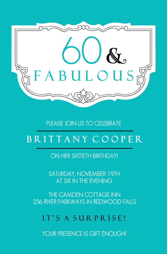 60th birthday party invitations templates