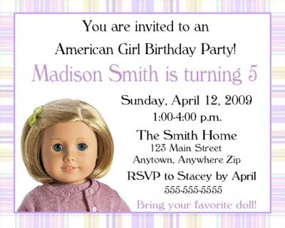 American Girl Free Printable Birthday Invitations