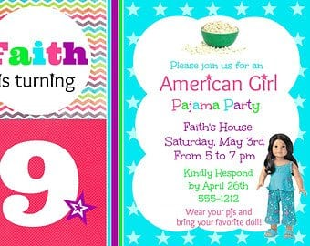 American Girl Sleepover Invitations