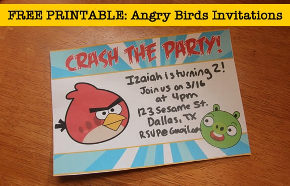 Angry Birds Birthday Party Invitations Templates