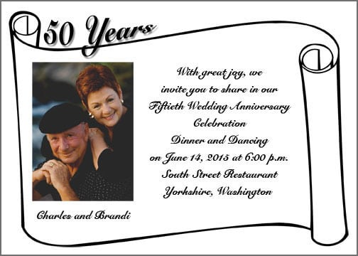 Anniversary Invitation Samples