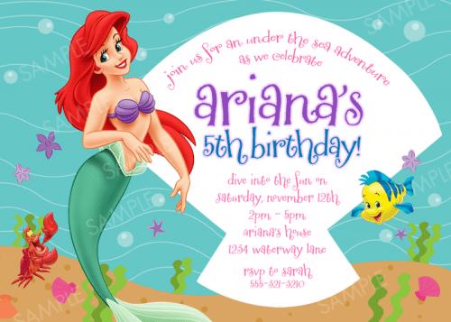 Ariel Birthday Invitations