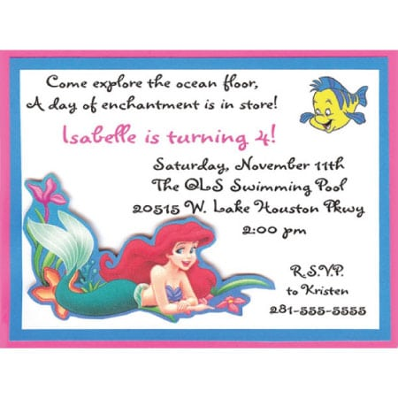 Ariel Birthday Invitations Wording