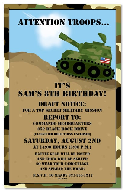 Army Style Birthday Invitations Free