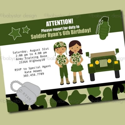 Army Themed Birthday Invitations