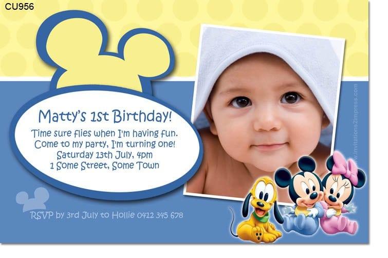 Baby Mickey Birthday Invitation Template