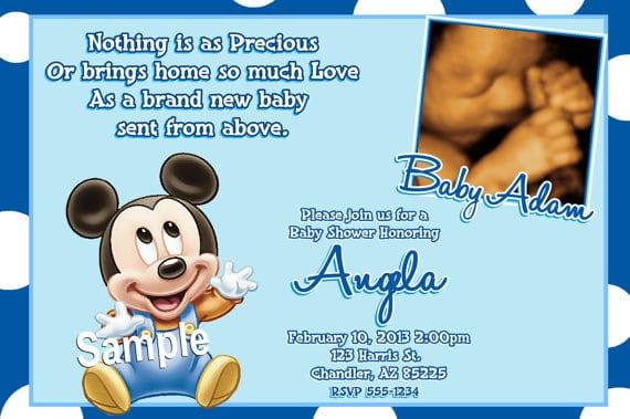 Baby Mickey Invitations Baby Shower