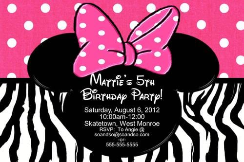Baby Minnie Invitations Of Zebra Print