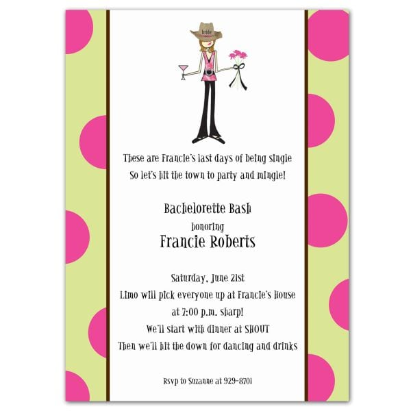 Bachelorette Invitation Wording Funny