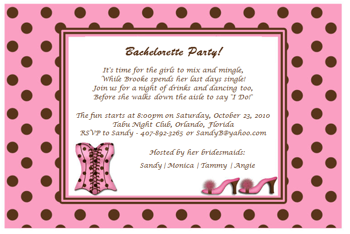 Bachelorette Party Invitation Wording gangcraftnet – Invitation Quotes for Party
