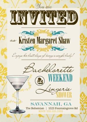 Bachelorette Invitations Vintage