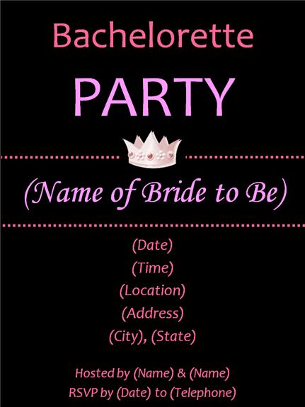 Party Invitations Templates - Party invitation template: bachelorette party invitations templates