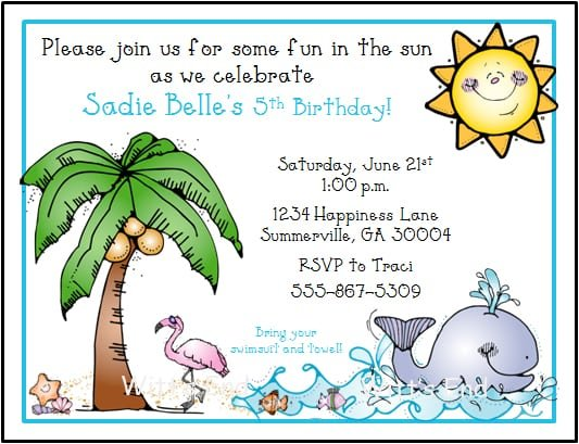Beach Birthday Party Invitation Wording