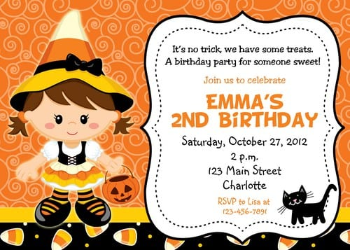 Birthday Halloween Invitations