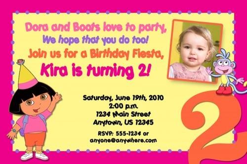 Birthday Invitation Dora Designs
