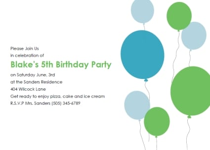 Birthday Invitation For Kids Templates