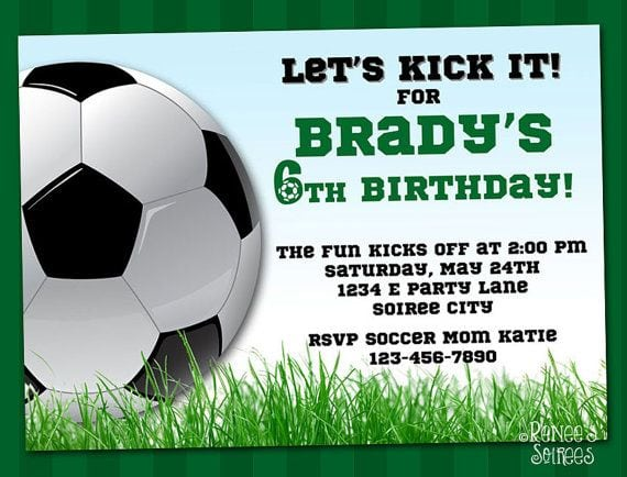 Birthday Invitation Soccer