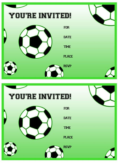 Birthday Invitation Soccer Printable